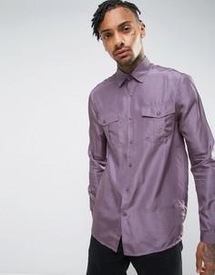 Фиолетовая шелковая рубашка классического кроя ASOS - Фиолетовый