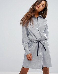 Полосатое платье-рубашка с поясом-завязкой Gestuz Winnie - Синий