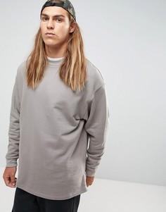 Серый длинный свободный свитшот с молниями по бокам ASOS - Серый