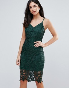 Кружевное облегающее платье миди Ax Paris - Зеленый