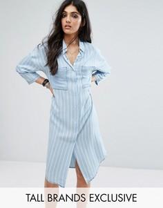 Длинное платье-рубашка в стиле oversize в полоску с карманами Noisy May Tall - Синий
