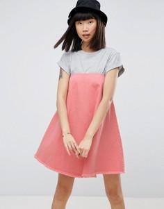 Розовое джинсовое платье без бретелей ASOS - Розовый