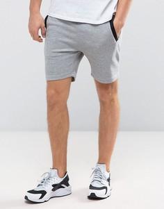 Трикотажные шорты с отделкой в рубчик сбоку Jack & Jones - Серый