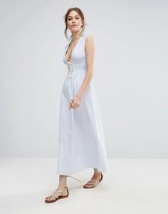 Платье макси в полоску Moon River - Синий
