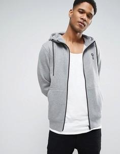 Худи на молнии с логотипом на груди Jack & Jones Core - Серый