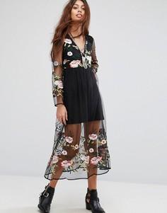 Платье с длинными рукавами и цветочной вышивкой Rd & Koko - Черный