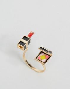 Незамкнутое кольцо с отделкой в виде губной помады и компактной пудры ASOS - Мульти