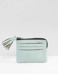 Кожаный кошелек для монет с кисточкой ASOS - Зеленый