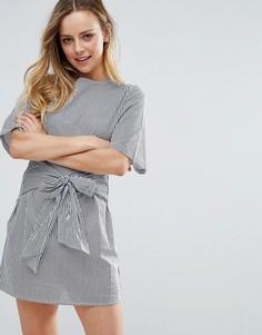Свободное платье с поясом Influence - Синий