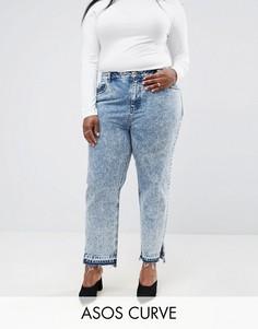 Мраморные джинсы в винтажном стиле с разрезами по бокам ASOS CURVE ORIGINAL - Синий