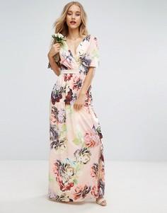 Мягкое платье макси с рукавами клеш и принтом ASOS WEDDING - Мульти