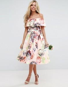 Структурированное платье миди для выпускного с принтом ASOS WEDDING - Мульти