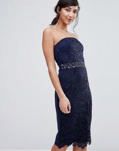 Цельнокройное платье-бандо с отделкой на талии Little Mistress - Темно-синий