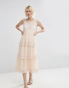 Кружевное ярусное платье миди Vero Moda - Бежевый