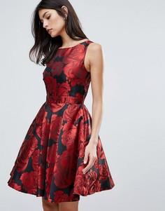 Короткое приталенное платье из жаккарда с цветочным узором Little Mistress - Мульти