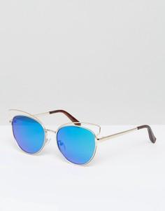 Солнцезащитные очки кошачий глаз с зеркальными стеклами New Look - Серебряный