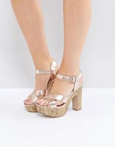 Туфли цвета металлик на высоком каблуке и пробковой платформе New Look - Розовый