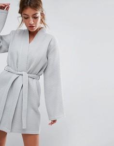 Вафельный халат из 100% хлопка ASOS - Серый