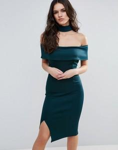 Платье с вырезом лодочкой и чокером AX Paris - Зеленый