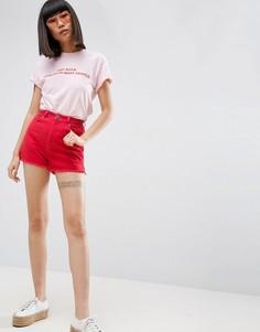 Красные джинсовые шорты с разрезами по бокам ASOS - Красный
