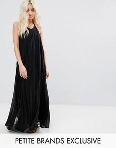 Плиссированное платье макси Missguided Petite - Черный