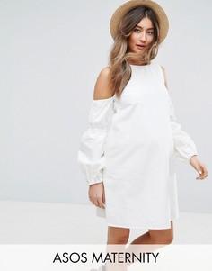 Белое джинсовое платье с открытыми плечами и пышными рукавами ASOS MATERNITY - Белый