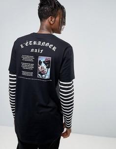 Двухслойная супердлинная футболка с полосками и принтом на спине ASOS - Черный