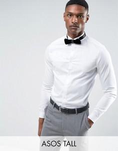 Узкая сатиновая рубашка с двойными манжетами ASOS TALL WEDDING - Белый