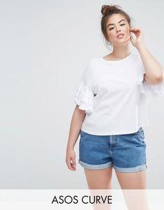Укороченная футболка с оборками на рукавах ASOS CURVE - Белый
