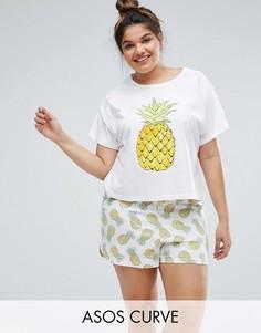 Пижамный комплект с футболкой и шортами с принтом ананасов ASOS CURVE - Мульти