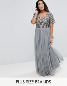 Платье макси с декорированным лифом и V-образным вырезом Lovedrobe Luxe - Синий