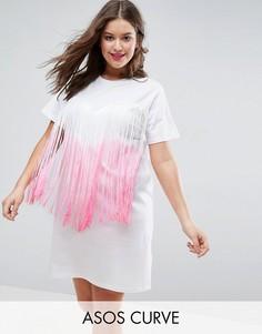 Платье-футболка с бахромой с эффектом деграде ASOS CURVE - Мульти