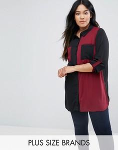 Рубашка в стиле колор блок Lovedrobe Plus - Красный