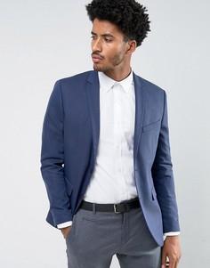 Узкий фактурный пиджак Jack & Jones - Темно-синий