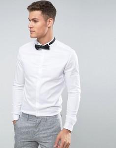 Облегающая сатиновая рубашка с воротником-стойкой и двойными манжетами ASOS - Белый