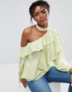 Блузка с оборками и открытым плечом ASOS - Зеленый