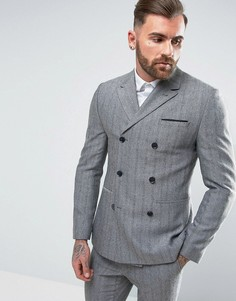 Синий двубортный облегающий пиджак из ткани в елочку ASOS - Синий