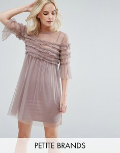 Плиссированное платье из сетки с оборками Miss Selfridge Petite - Розовый