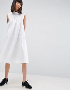Платье-рубашка миди без рукавов со складками ASOS WHITE - Белый