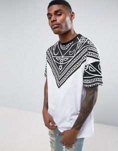 Белая oversize-футболка с принтом на кокетке ASOS - Белый