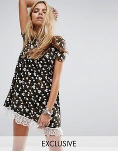 Свободное платье с цветочным принтом Reclaimed Vintage Inspired - Мульти