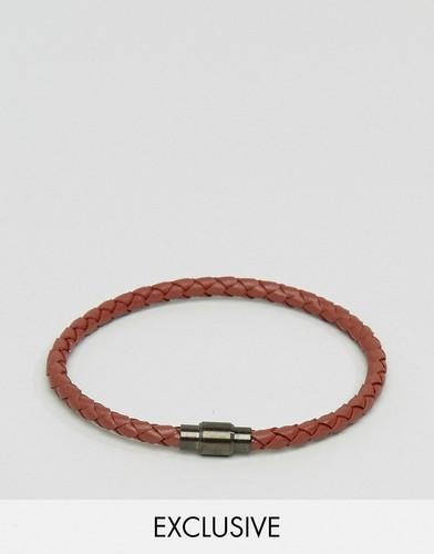 Коричневый кожаный плетеный браслет Seven London - Коричневый