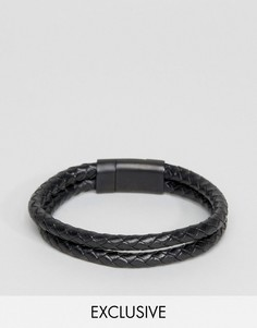 Черный кожаный двойной браслет Seven London эксклюзивно для ASOS - Черный