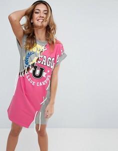Платье-свитшот со шнуровкой и принтом ASOS - Мульти