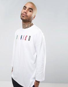 Oversize-футболка с рукавами 3/4 и вышивкой Denied ASOS - Белый