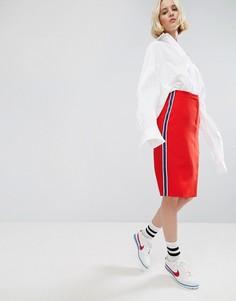 Юбка миди с полосой сбоку STYLENANDA - Красный