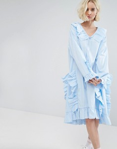 Платье-футболка миди в стиле oversize с оборками STYLENANDA - Синий