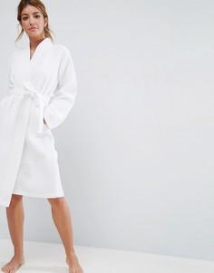 Вафельный халат миди из 100% хлопка ASOS - Белый