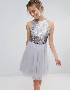 Платье для выпускного из тюля с поясом Little Mistress - Синий
