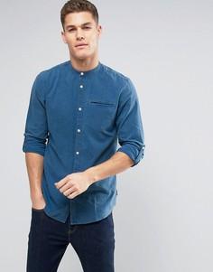 Джинсовая рубашка классического кроя с воротником на пуговице Jack & Jones Originals - Синий